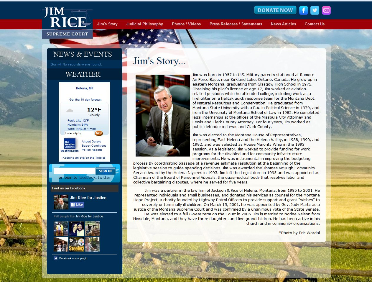 This project included the setup for a political campaign web site for Jim Rice.